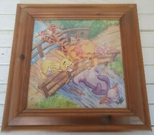 Winnie the Pooh & friends on bridge art print in 43 x 43 cm wooden frame I2P235
