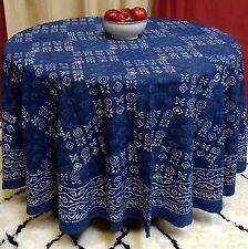 "Handmade 100% Cotton Hand Block Print Dabu Tablecloth 90"" Round Indigo Blue"
