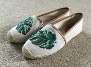 BN Michael Kors Womens Kendrick Slip On Canvas Leaf Espadrilles Shoes UK 6.5