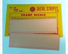 Champ HO Decals White 1/32 Inch 3 HO Scale Inches Stripe Set S-9