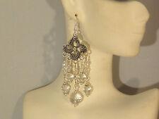 Gemstone Earrings - Crystal Quartz & 925 Sterling Silver - long chandeliers