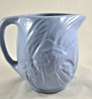 Vintage McCoy Pottery Matte Blue Embossed Fish Pitcher - 1939