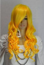 charming long yellow curly party full hair cosplay women's wig +cap AE155