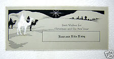 6 CHRISTMAS CARDS NOVELTY HAPPINESS INSURANCE POLICY CAMELS WISE MEN SLEDDING