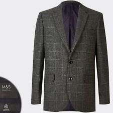 M&S Gents' WOOL BLEND Regular Fit BLAZER JACKET ~ Size 38 Short ~ GREY CHECK