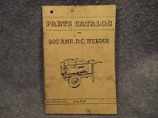 Onan 1950s 200 AMP. D.C. Welder Parts Catalog Pamphlet Guide Booklet 927-1010