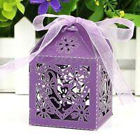 25/50/100Pcs Love Heart Favor Ribbon Gift Box Candy Boxes Wedding Party Decor