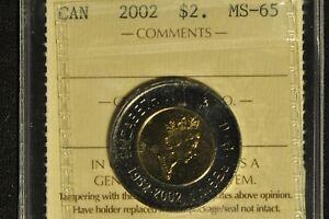 Canada 2002 Toonie - ICCS - MS-65 -