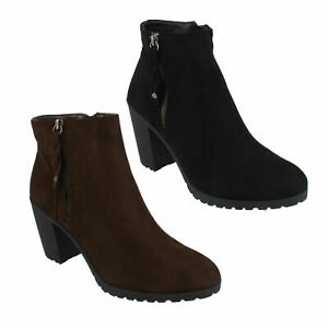 SPOT ON SMART CASUAL HEELED ANKLE BOOTS LADIES WINTER WORK SHOES SIZE F5R0878
