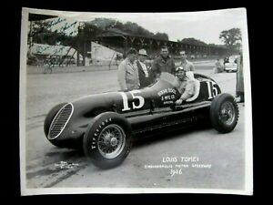 RARE AUTHENTIC 1946 AUTOGRAPHED PHOTOGRAPH LOUIS (LUIGI) TOMEI INDY 500 RACE CAR