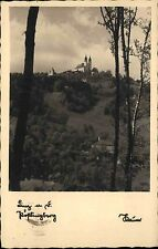 Linz Oberösterreich s/w AK 1940 gelaufen Blick auf den Pöstlingberg Basilika
