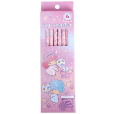 Super Cute Little Twin Stars Pink Lead HB Pencils Stationery Office Set of 6 UK