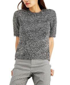 INC Womens Sweater Black Size XL Silver Fuzzy Short Sleeve Metallic $69 042