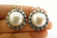 Round White Mabe Pearl Ornate 925 Sterling Silver Dangle Earrings