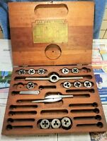 VINTAGE ACE TAP AND DIE SET AND WOODEN BOX – INCOMPLETE - MADE IN THE USA.