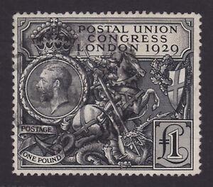 GB. KGV. SG 438, £1 black. 1929 Postal Union Congress.