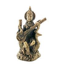 "1.5"" Hindu Goddess Saraswati Playing Vina Statue Sculpture Figurine Sarasvati"
