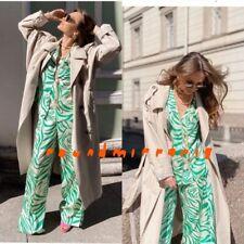 NWT Zara 2 Pcs Green Print Pyjama Style Top Shirt Trousers Pants Co Ord Set S M