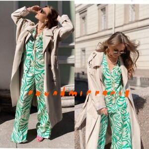 NWT Zara 2Pcs Green Printed Pyjama Style Top Shirt Trousers Pants Co Ord XS S M
