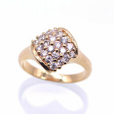 Square Ring 18K Gold Plated Rhinestones White CZ Fashion Ring Size 7