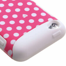 iPod Touch 4th Gen -Pink Polka Dots Hard & Soft Silicone Armor Hybrid Case Cover