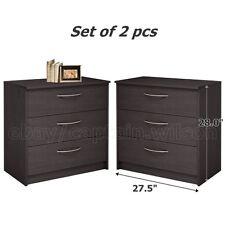 Nightstands or Dresser Set of 2 pcs 3 Drawers Bedroom Brown Espresso