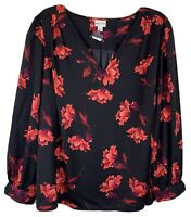 Ava & Viv Black Floral Blouse Long Puff Sleeves with Button Cuffs V Neck Size 4X