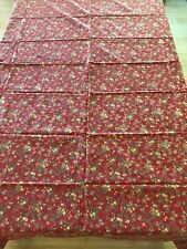 "APRIL CORNELL Tablecloth 62""x98"" Rectangle 100% Cotton Red Floral"