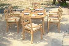 7 PC DINING TEAK STACKING CHAIRS PATIO FURNITURE NEW X03 - GRANADA COLLECTION