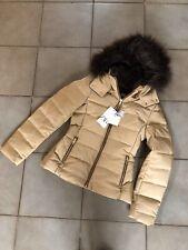 Zara Camel Brown Hooded Down Puffer Jacket Coat M UK12 Bnwt