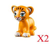 Lego Rajah Bright Light Orange Cub Lion Tiger Azure Eyes Minifigure Lot Of 2