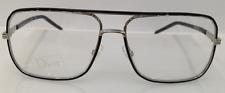 Dior Homme 0167 E60 Black Metal Aviator Eyeglasses Frame 55-14-140 Italy New