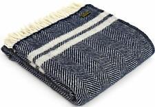 TWEEDMILL TEXTILES KNEE RUG Wool Sofa Throw Blanket FISHBONE NAVY SILVER STRIPE