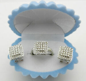 Beautiful 14k Solid White Gold Diamonds Earring, Ring Set CLUSTER style 1.50 tcw