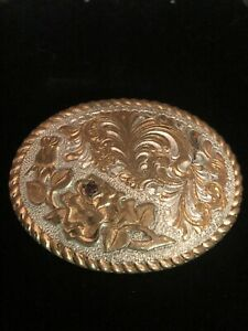 Crumine Two Tone Belt Buckle Floral Flower with Ruby Rhinestone