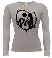 Jack and Sally Heart Women T-Shirt Long Sleeve Nightmare Gothic christmas ladies