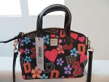 Dooney & Bourke Black Varsity Ruby Mini Cotton Leather Bag NEW TAGS Paperwork
