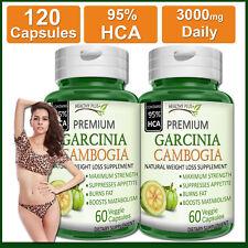 120 Capsules GARCINIA CAMBOGIA 95% HCA PURE Fat Burn Slim Weight Loss Natural