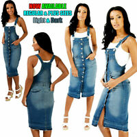 NEW WOMEN'S LADIES SEXY PINAFORE DUNGAREE DRESS DENIM BLUE BIG SIZES 14 TO 18