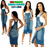 NEW WOMEN'S LADIES SEXY PINAFORE DUNGAREE DRESS DENIM BLUE BIG SIZES 14 TO 18