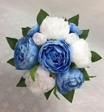 Light Blue/White Peony Flowers Posy Artificial Silk Flower  Wedding Bouquet