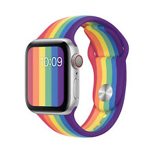 Rainbow Sport Band Silicone solo Strap fit For Apple Watch Series 6 5 4 3 2 1 se