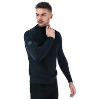 Mens Jack & Jones Klover Zip Neck Knit In Navy- Zip Collar- Ribbed Cuffs And