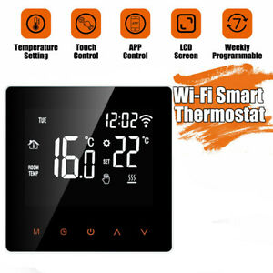 UK WiFi LCD Wireless Smart Programmable Thermostat Electric Heating App Control