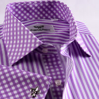 Purple Stripe Formal Business Dress Shirt French Cuff Contrast Collar And Cuffs