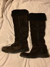 Ladies brown suede sheepskin lined Prada knee high/over knee boots, size 6