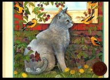 Kitten Cat In Garden Butterflies Yellow Birds - Blank Greeting Note Card New