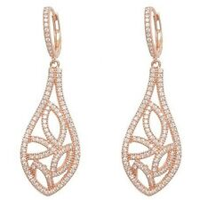 Rose Sterling Silver Cubic Zirconia Open Tear Drop Dangle Hoop Earrings-CZ