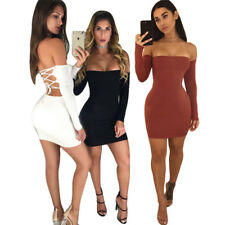 Women's Bandage Bodycon Long Sleeve Club Party Cocktail Mini Dress Backless UK