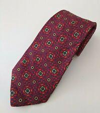 Burberrys London Mens Silk Tie Vintage Red Blue Yellow England 3.5x59